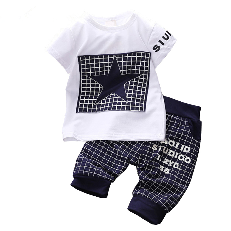 Baby boy clothes 2017 Brand summer kids clothes sets t-shirt+pants suit clothing set Star Printed Clothes newborn sport suits