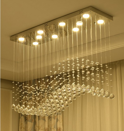 Hotel Large LED Crystal Chandelier For Wedding Centerpieces