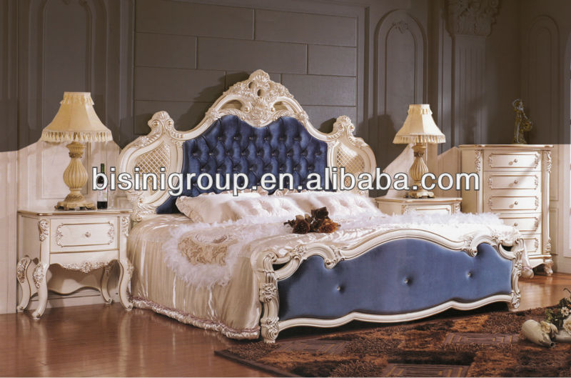 Bisini Exquisite Imperial King Size Blue Bed Tufted Headboard And