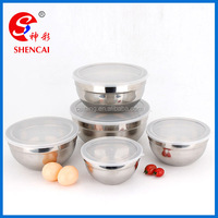 5 pcs set Stainless steel mixing bowl set with transparent lids