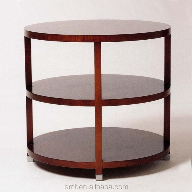 Deon Industrial Coffee Table: Industrial Round Coffee Table With Stainless Base,High End