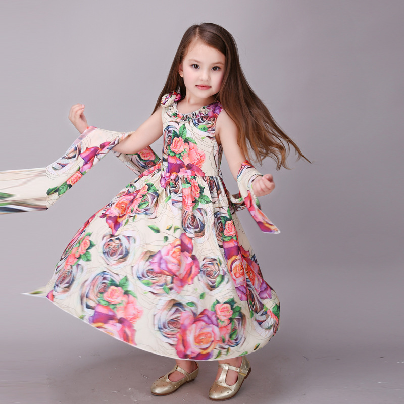 0c7287291a4 Fashion girl flower printing party dresses age 2 to 9 years old kids  cinderella dress wedding