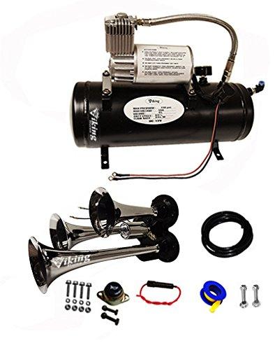Viking Horns 3305/301 Loud 142 Decibles Chrome 3 Trumpet Train Air Horn Kit With 1.5 Gallon Air Tank/air Compressor
