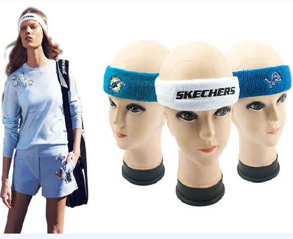 Wholesale fashion ladies terry cotton embroidery custom logo sports headband