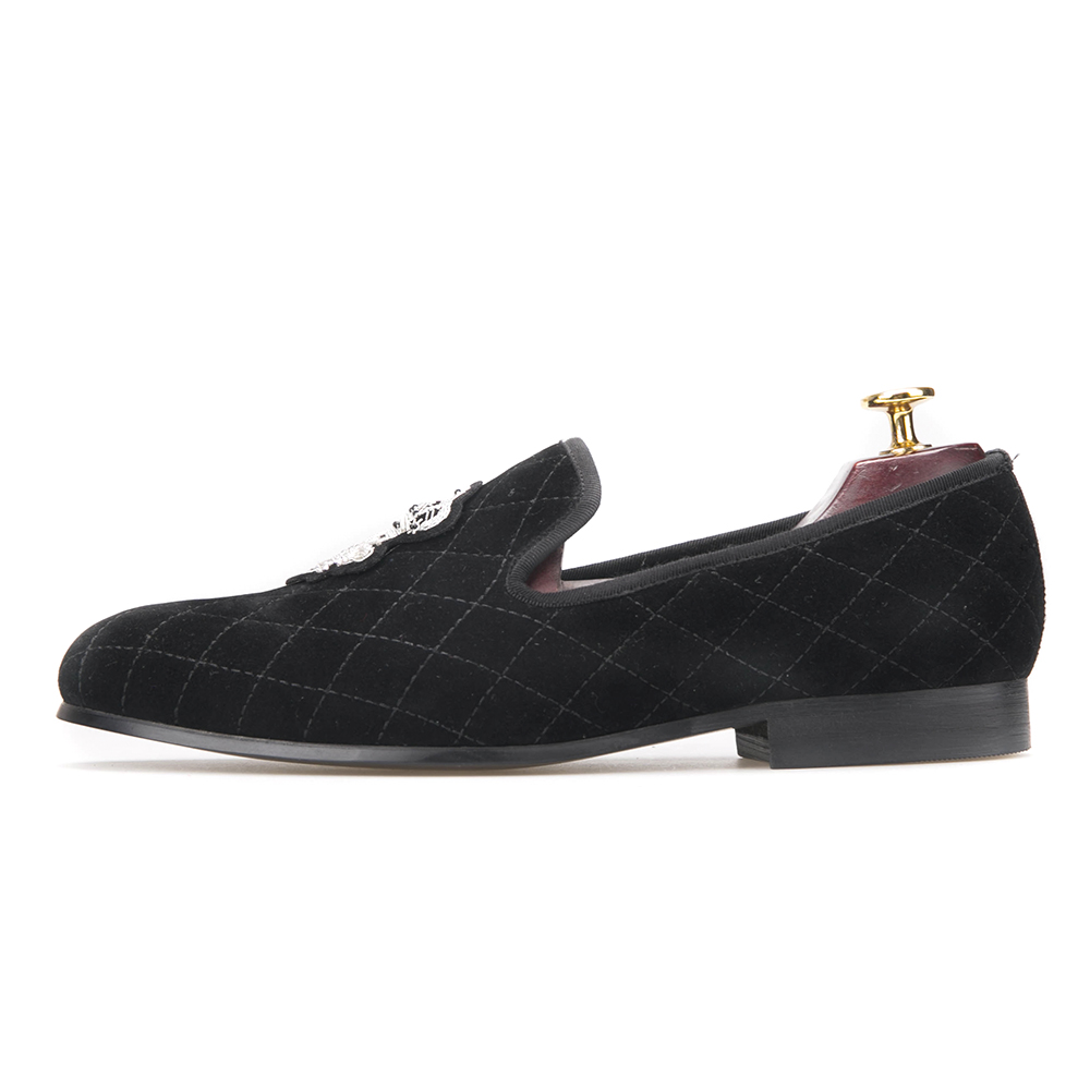 Velvet Plaid for Loafers Black Men Shoes with Bees 5vB5T