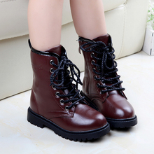 2016 Autumn Kids Boys Girls Martin Boots Leather Flat Platform Children Shoes Tide Parent child Ankle