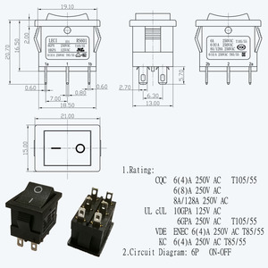 On Off Dpdt Rocker Switch Wholesale, Rocker Switch Suppliers ... Kc Cherry Illuminated Switch Wiring Diagram on