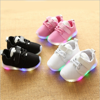 2018 New Style Children Sneakers LED Lighting Casual Shoes Lace Up Glowing Kids Baby LED Shoes