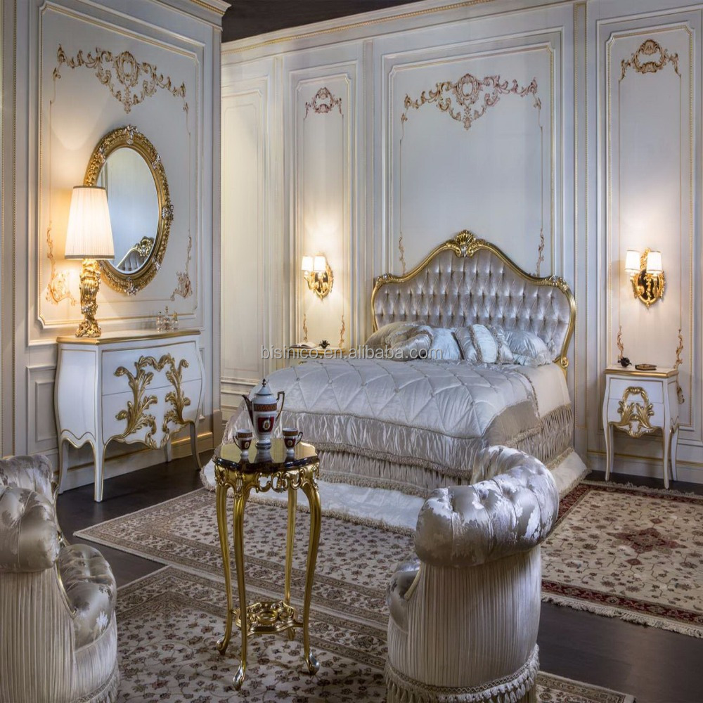 Royal Français Meubles De Chambre À Coucher En Bois Massif Avec Feuille  D`or 24 K Plaqué Or De Luxe Lit King Size ...