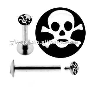 hot wholesale 316L surgical stainless steel drop oil skull logo internally thread piercing labret ring