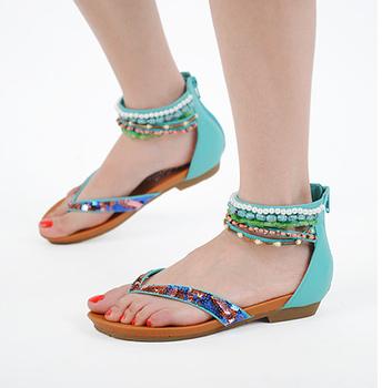 Latest Flat Sandals Shoes Women Flat Sandals Pearls Upper Slipper ...