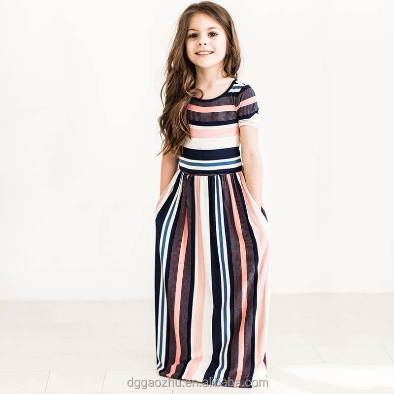 latest children frocks designs girls maxi dress striped casual cotton dresses for kids
