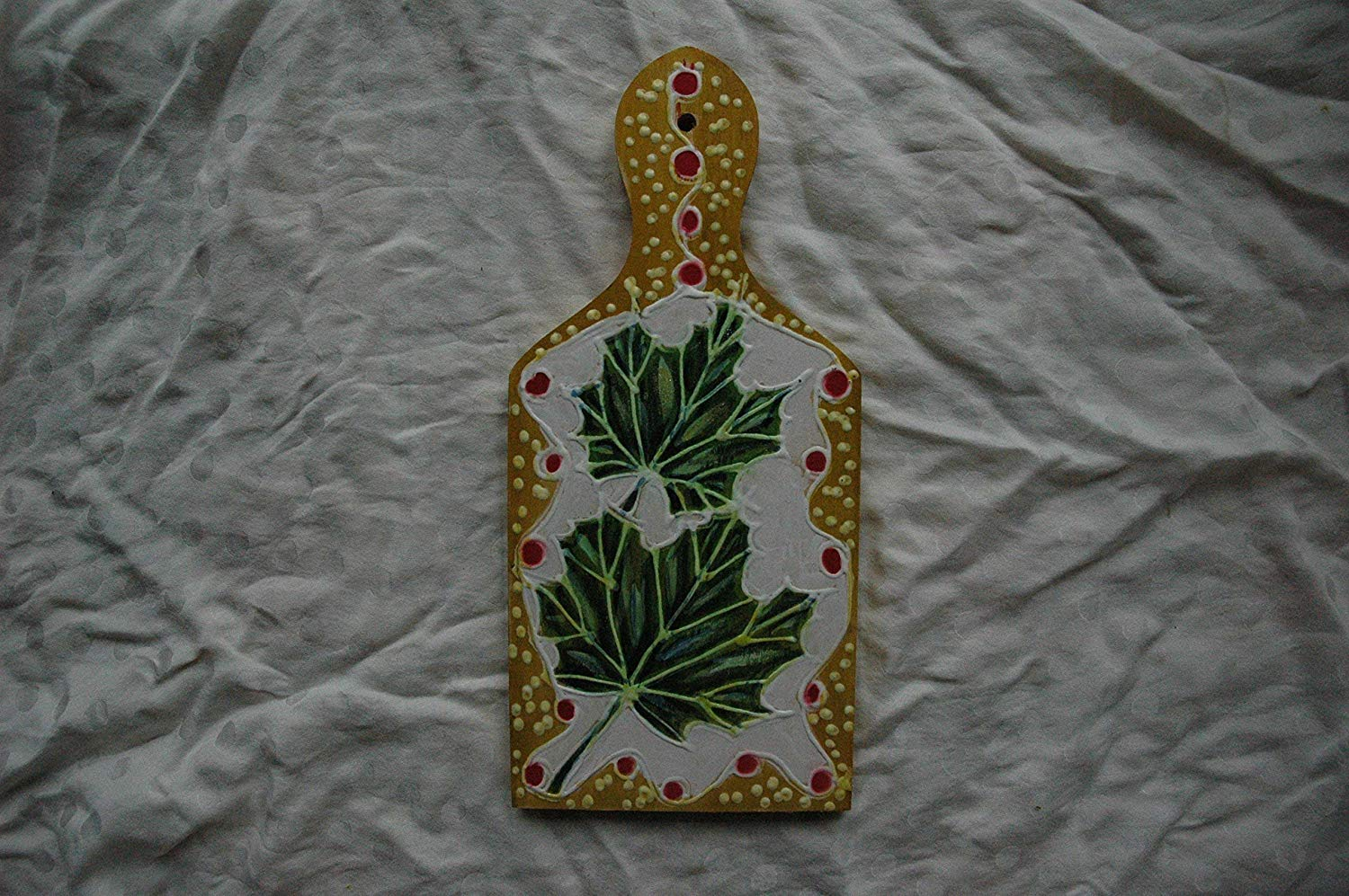 Sale!!!10% Off,Hand Painted Sycamore Leaves Wooden Cutting Board, Art Gift, Leaves of the Sycamore Botanical, Leaves Wall Decor, Mini Green Sycamore Tree Leaf.