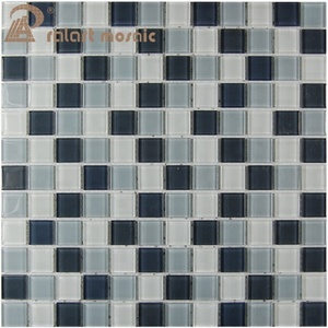 Black and White Backsplash Glass Wall Mosaic Tile
