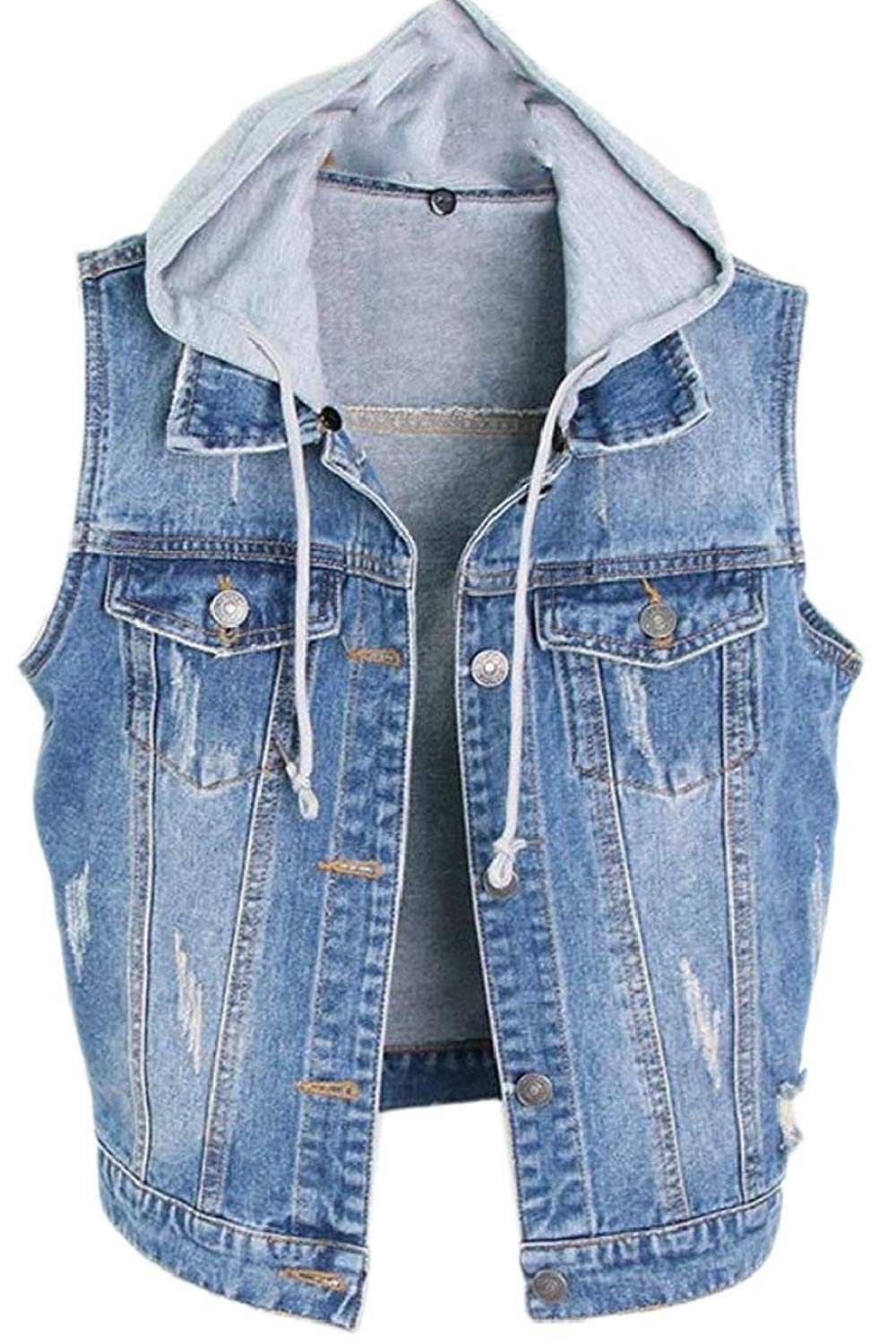 78a3fd62b5017 Get Quotations · Jaycargogo Women Hooded Washed Denim Vest Sleeveless Jean  Jacket