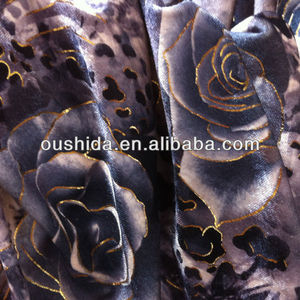HIgh quality Gold Foil printing velvet fabric from manufacturer