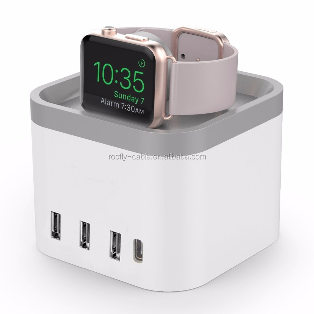 Hot Selling Magic Cube Shape 4 Port USB Home Charger Multi Function Travel Chargers Watch Charger