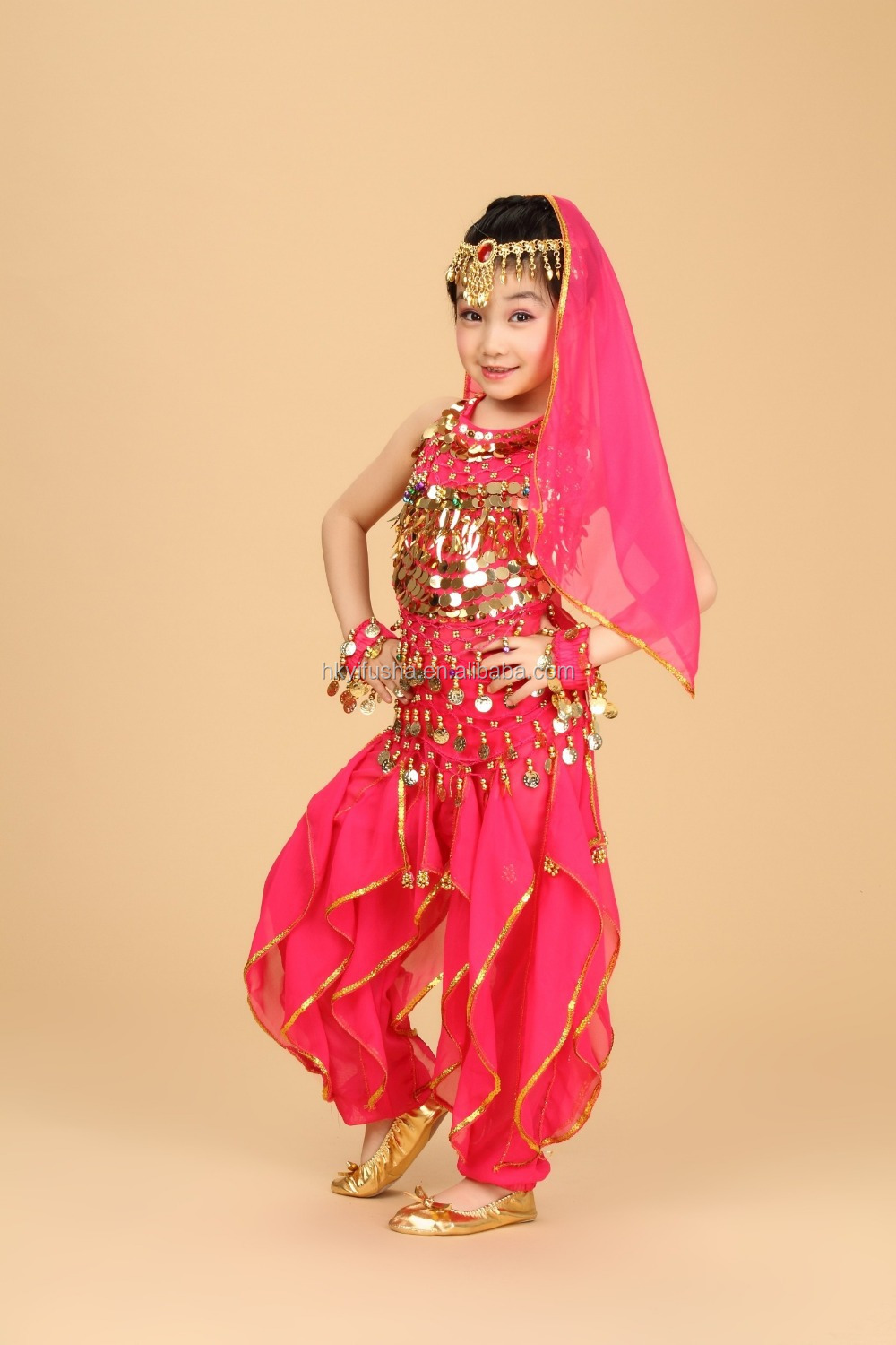 Hot sale belly dance costumes for children kids Bollywood Indian dance costumes