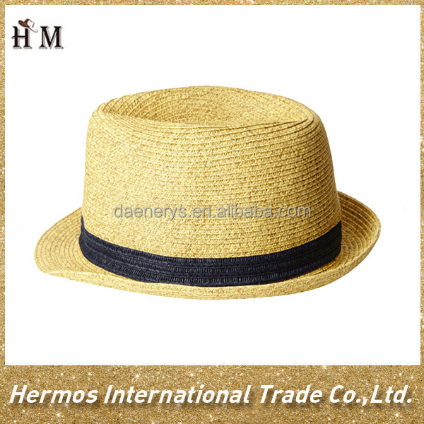 Promotional Custom Paper Made Sun Broad Brim Hat Flat Top Hat For Men