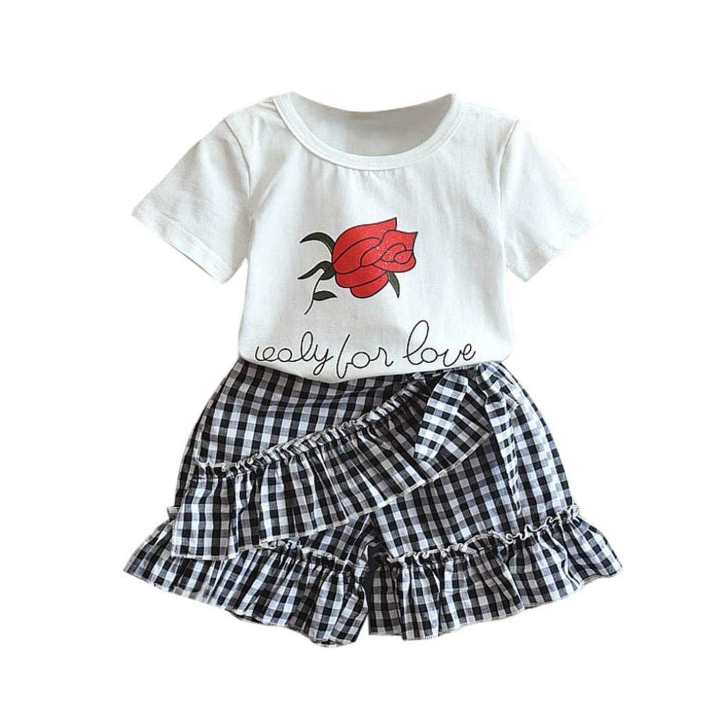 HOT!!3-7 Years Old Girls Outfits Clothes,2PC Toddler Baby Kids Floral T-shirt + Plaid Shorts Pants Set (6T, White)