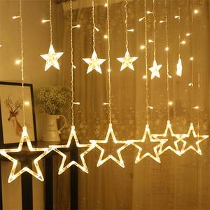 Christmas Light Curtains.12 Stars 138 Leds Light Curtains Fairy Twinkle Star Light For Christmas