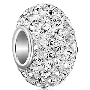 a9326d62840f57 925 Sterling Silver Clear Birthstone Charm Swarovski Elements Crystal Sale  Beads Fit Pandora Jewelry Bracelet