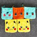 5pcs lot 22cm Pikachu Bulbasaur Squirtle Charmander Cartoon Coin Purse Plush Wallet Pouch Key Coin Plush