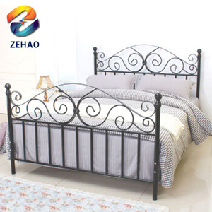Top-selling modern powder coating metal beds artistic cast iron bed latest double bed designs