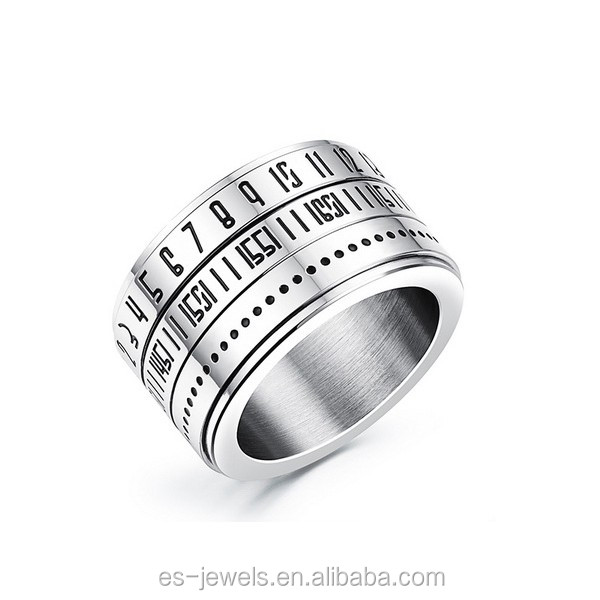 Father Day Jewelry Gift removable stainless steel Men ring with number