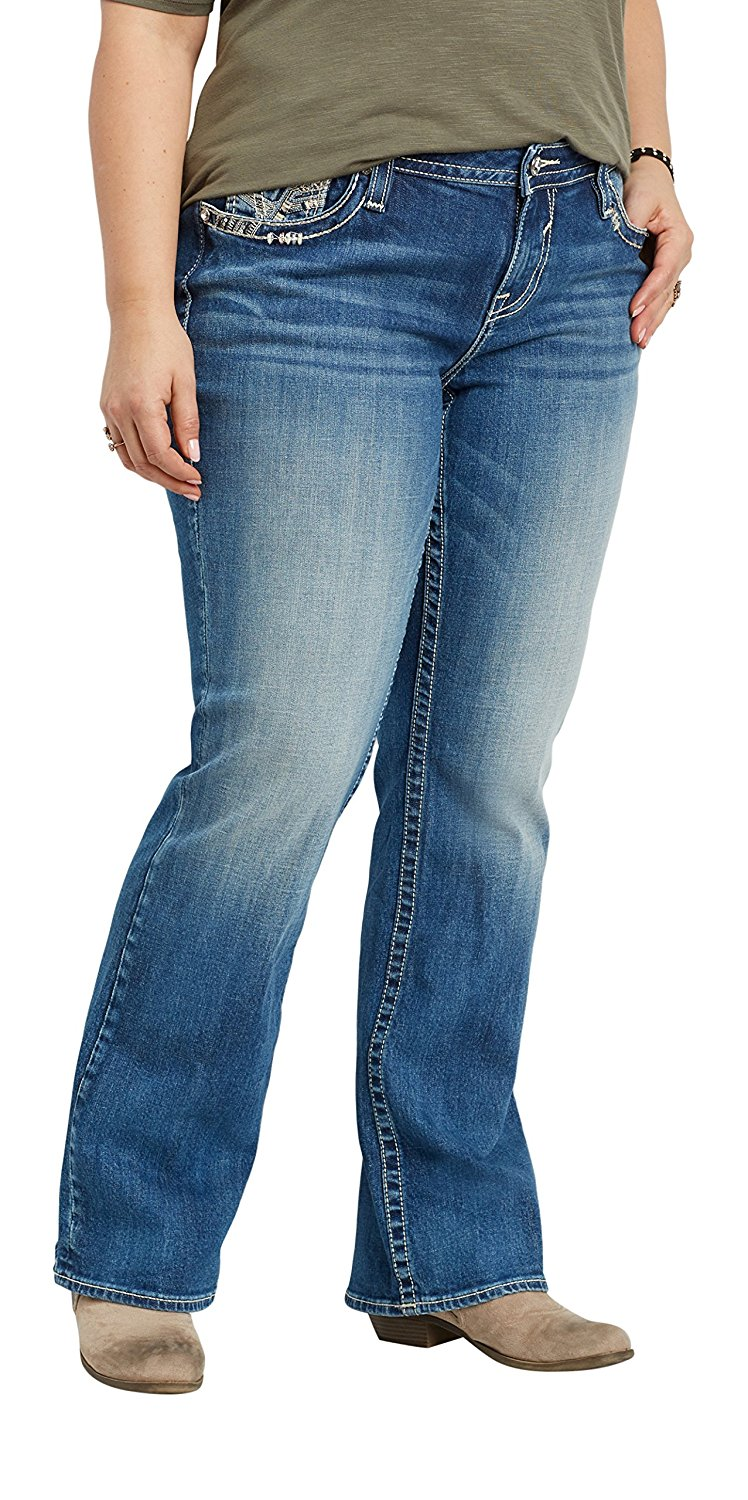 c801f34a194 Get Quotations · maurices Women s Vigoss Plus Size Slim Boot Jeans with  Embellished Double Back Pockets