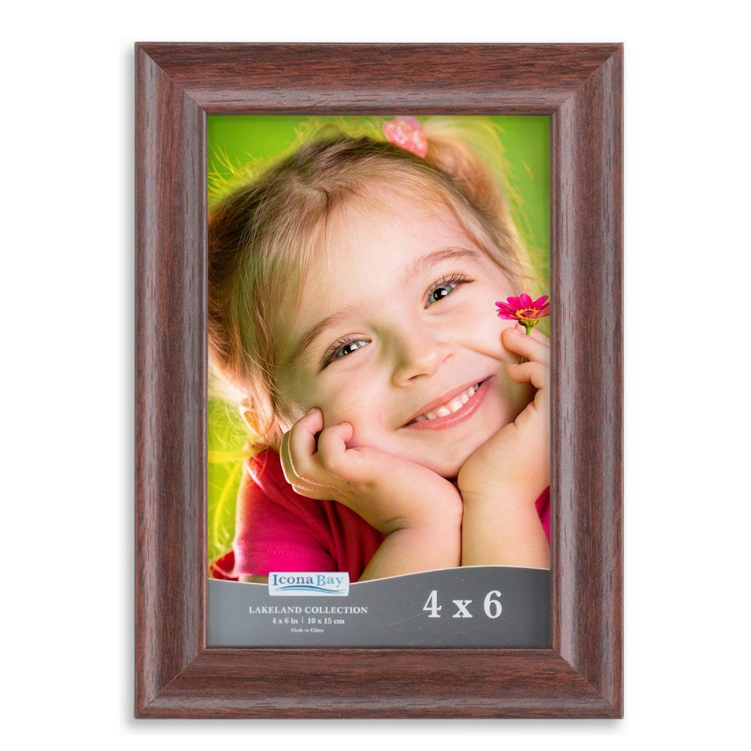 Icona Bay Picture Frame 4x6 (1 Pack, Teak Wood Finish), Photo Frames 4 by 6, Picture Frames 4 x 6, Wooden Photo Frames 4x6, Wood Photo Frame for Walls or Tables, Lakeland Collection