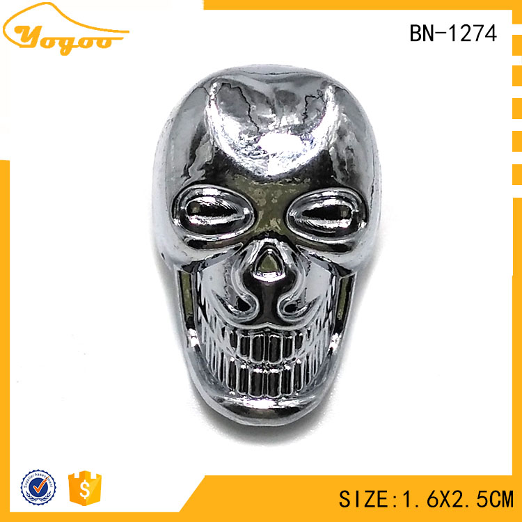 Hot Selling Custom Die Cast 3D Embossed Chrome Sewing Metal Skull Button