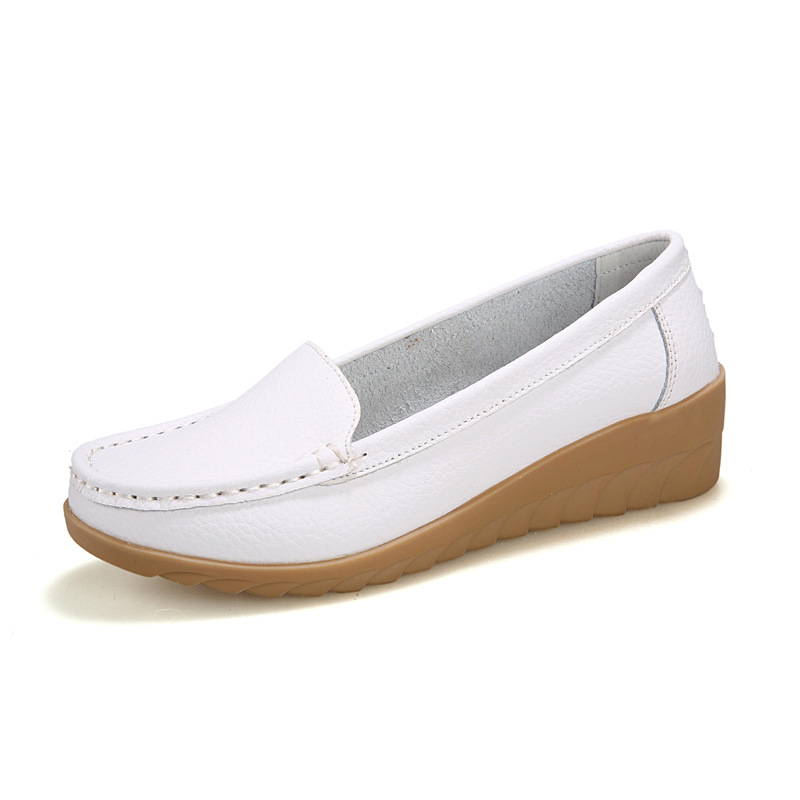 High quality genuine leather flat shoes for ladies