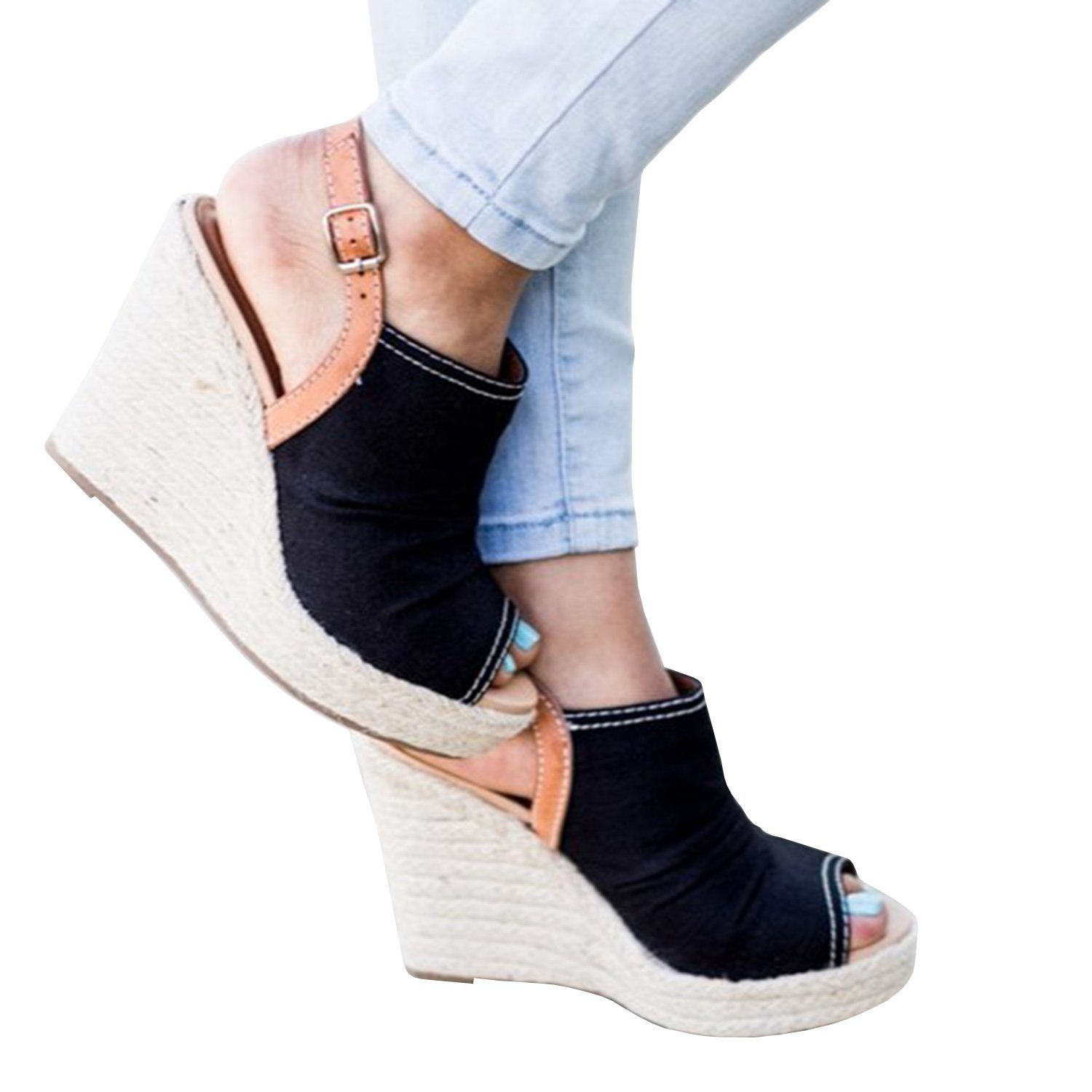1fe78efc50 Get Quotations · Enjoybuy Womens Espadrille Peep Toe Wedges Ankle Strap  Platform Sandals With Ruched Canvas Upper