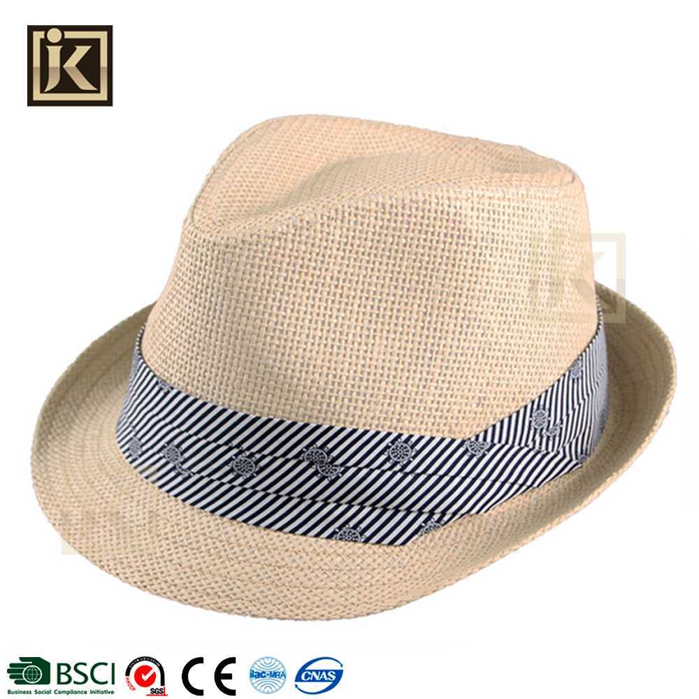 127abba340c JAKIJAYI custom new style handmade high quality light color fashion paper straw  fedora men hat