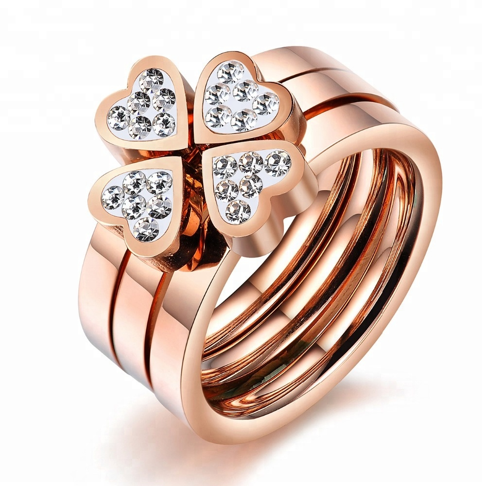 Fashion Gold Plated Stainless Steel Stackable Diamond Engagement Wedding <strong>Ring</strong>