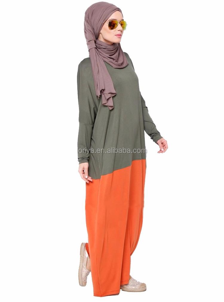 Malasia Stlye Modelo Nuevo Musulmán Abaya Costura Color Modal Kaftan ...
