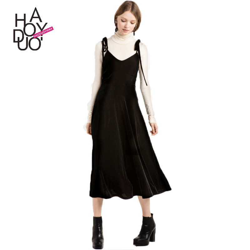 HAODUOYI Fashion Women Solid Black <strong>Dress</strong> Vestidos Two-Piece Short Sleeveless Preppy Casual Loose <strong>Dress</strong> For Wholesale