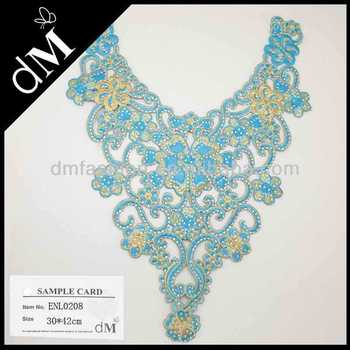 Dm 2014 Latest Neck Embroidery Design With Hotfix For Garments