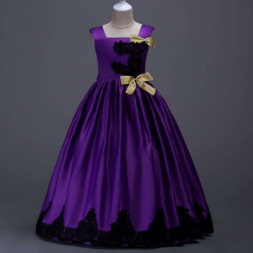 Más tamaño moda princesa niños cumpleaños vestido de noche largo ...