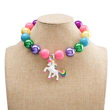 European and America Christmas Gift Sweet Colorful Bubblegum Necklace Kids Girls animal Pendant Chunky Necklace for Girls Party