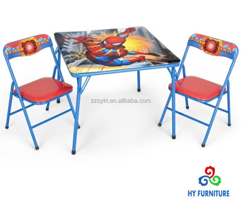 Admirable Small Children Size Folding Metal Table And Chairs With Spider Man Printing Buy Children Metal Table And Chairs Kids Folding Table And Chair Study Machost Co Dining Chair Design Ideas Machostcouk