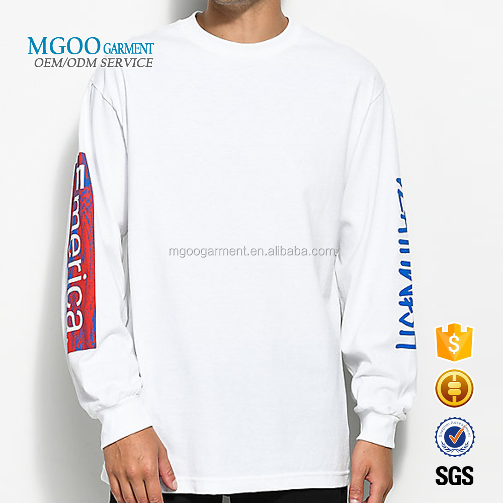 MGOO Garment Custom Logo Long Sleeve White Color Cotton T Shirt 100% Premium Cotton Tee Shirts