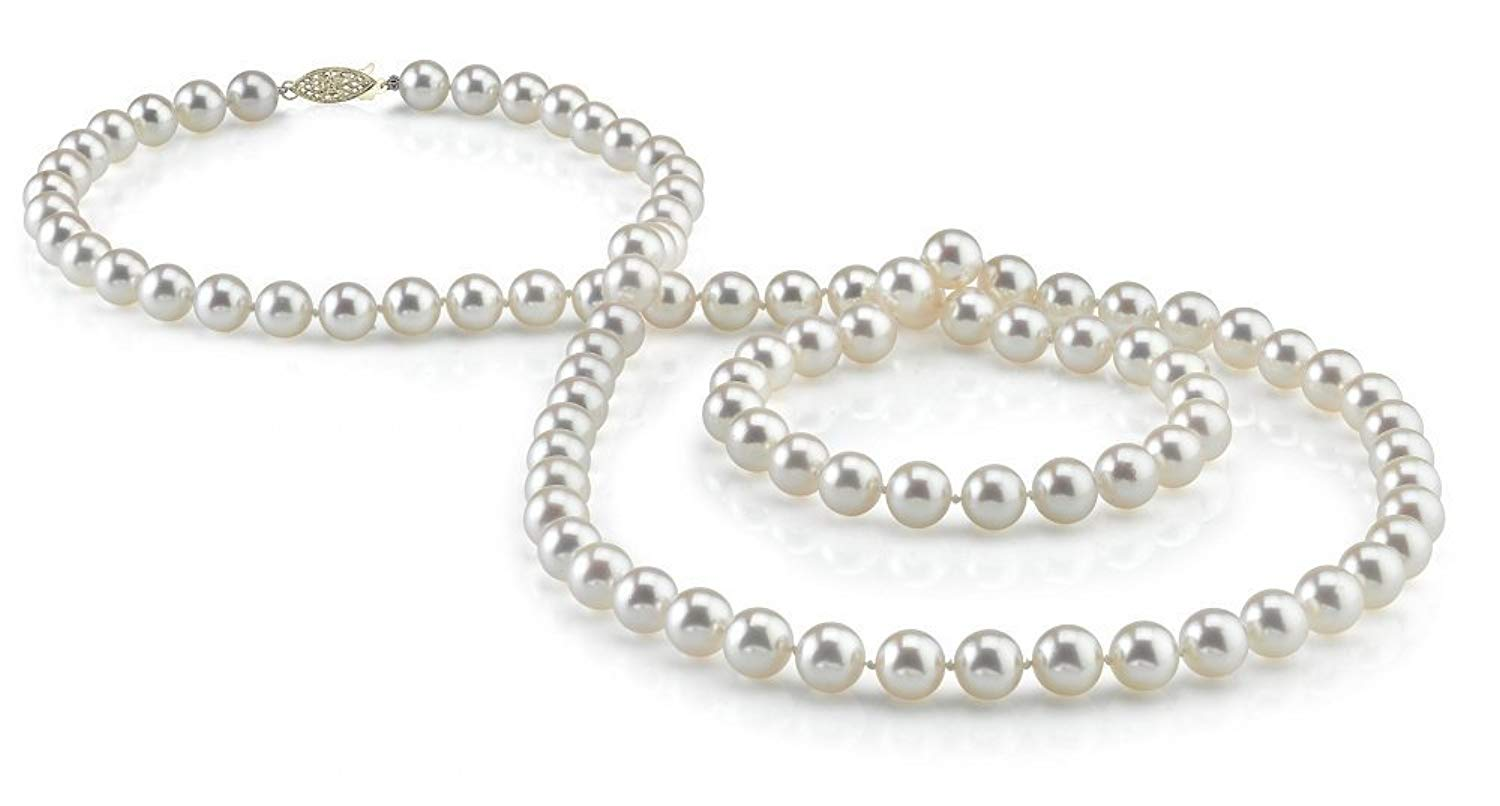 "14K Gold 6.5-7.0mm Japanese Akoya Saltwater White Cultured Pearl Necklace - AA+ Quality, 51"" Rope Length"