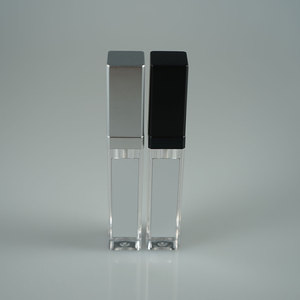 Wholesale silver square 8ml LED light lip gloss tube / black lip gloss packages with mirror