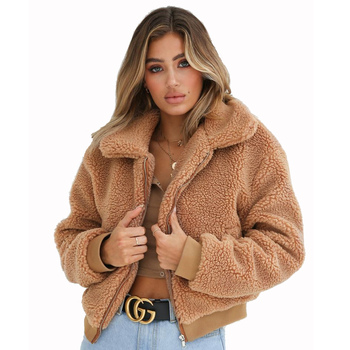 Wholesale 2018 fashion sexy women turn-down collar winter warm woolen coats (C18723)