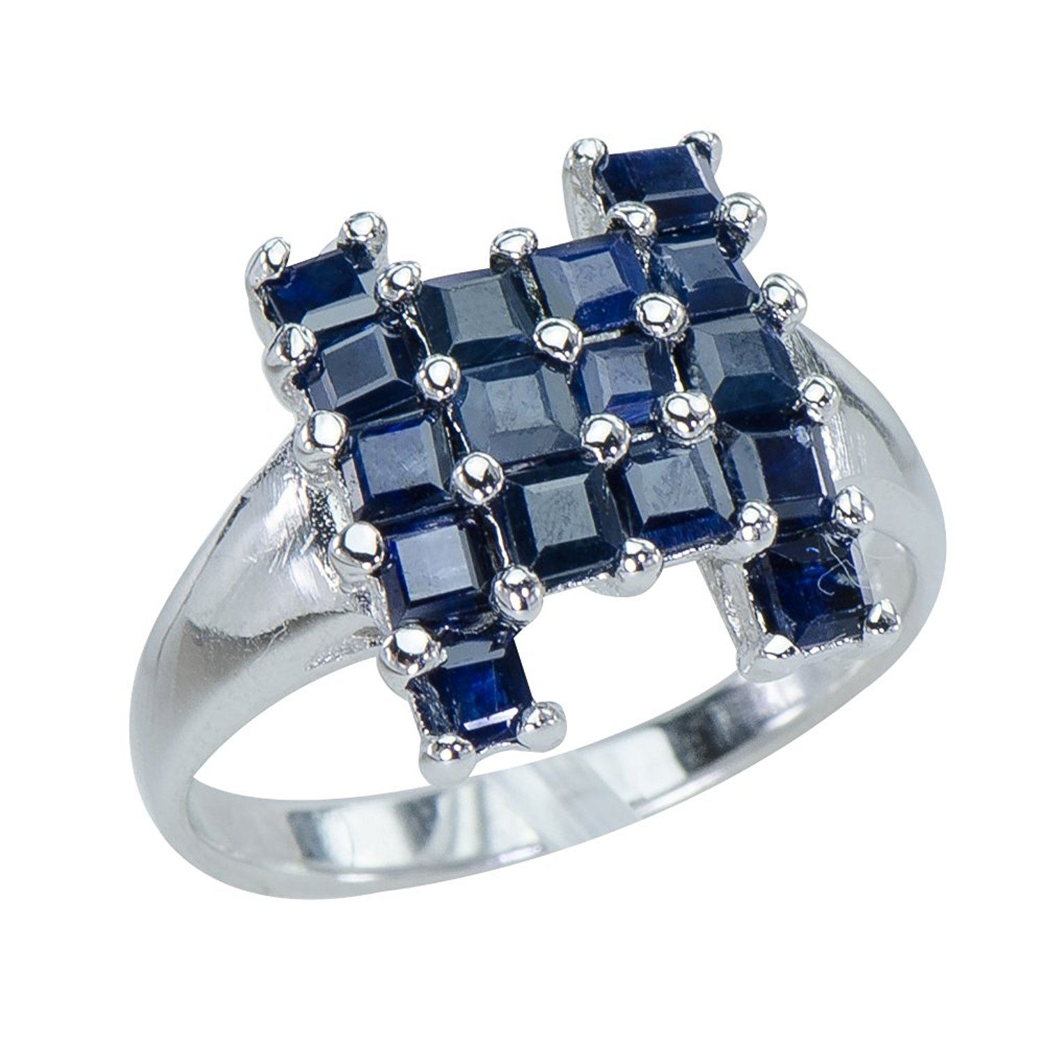 Caratera Fine Jewelry Eye-catching Natural Sapphire Gemstones 925 Sterling Silver Statement Ring