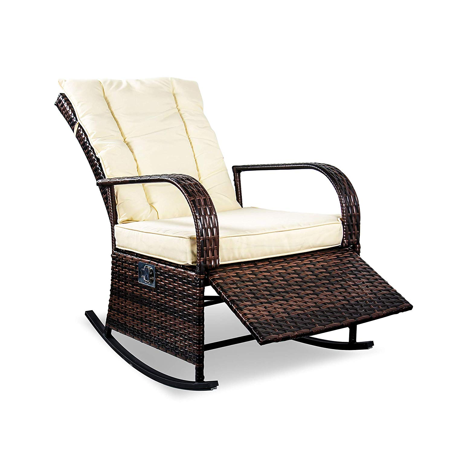 SCYL Color Your Life Outdoor Wicker Rocking Chair with Adjustable Backrest and Footrest,All Weather Patio Porch Deck Reclining Chair w/Cushion