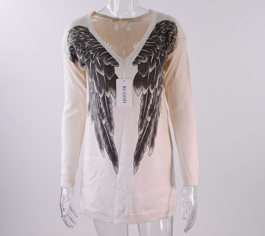 Sweater Angel Women New Sexy Sweaters Woman Size 2017 Pullover S Thick Plus Printing Spring Wings Wholesale Vintage 6gf7Yby