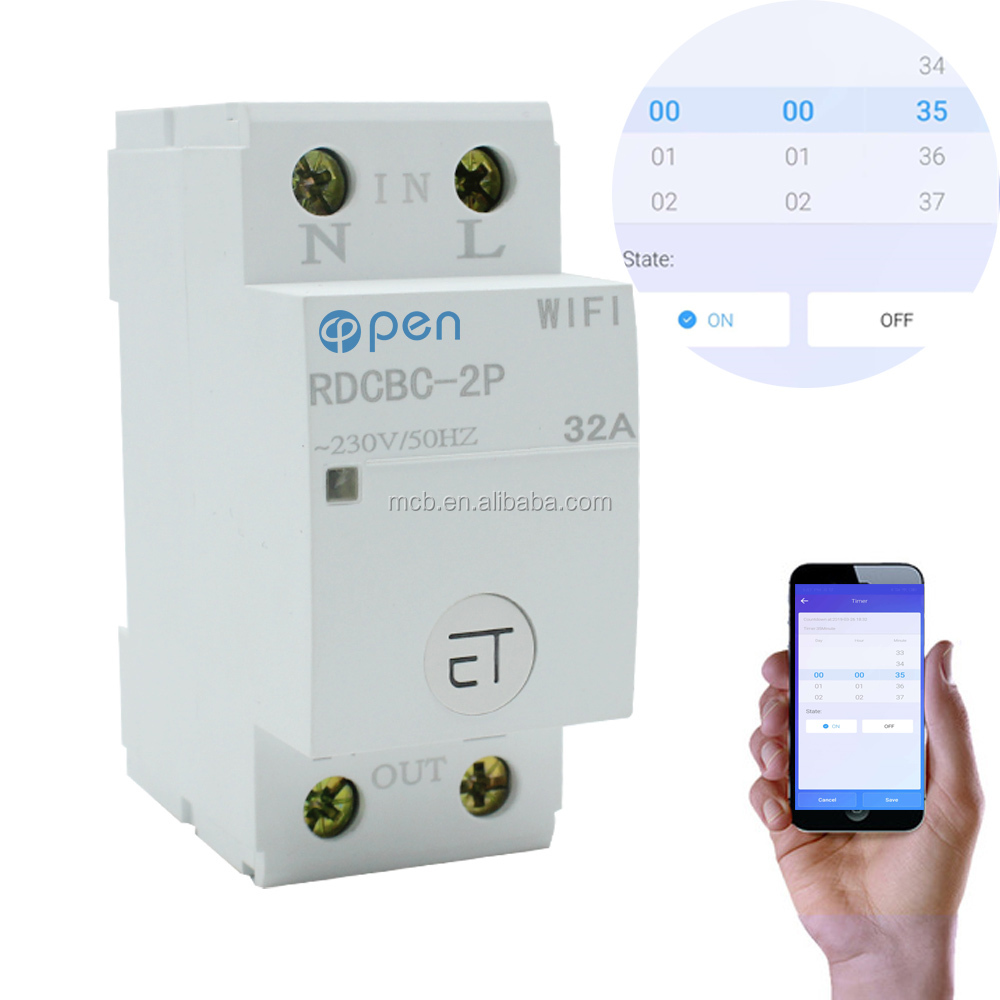 2P 32A 18mm Din Rail relay type cell phone control Smart <strong>Switch</strong> Remote control by eWeLink APP WIFI Circuit Breaker for home